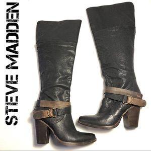 STEVE MADDEN Rockiie heeled boots black brown 8.5